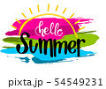 Hello Summer Inscription with a Colorful Strokes 54549231