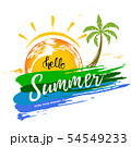 Hello Summer with a Brush Strokes and Palm 54549233