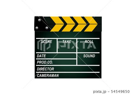 映画の撮影に使うカチンコ(ボード)のイラスト 白背景 54549650