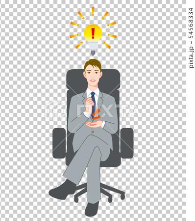 男性 ヒント 電球 椅子 54568334