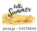 Hello Summer Design with Sand and Sea Shells 54576640