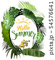 Hello Summer with Oval Frame and Tropical Plants 54576641