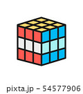 Vector 3d cube, mechanical puzzle toy flat color line icon. 54577906