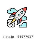 Vector rocket, startup flat color line icon. 54577937