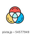 Vector RGB color, swatch palette flat color line icon. 54577949