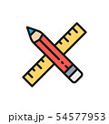 Vector pencil and ruler, project, art flat color line icon. 54577953