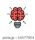 Vector brain and light bulb, innovation, creative idea flat color line icon. 54577954
