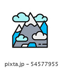Vector mountain, mount, hill, travel, tourism flat color line icon. 54577955