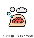 Vector think, thought, idea, mind, dream cloud, dialog flat color line icon. 54577956