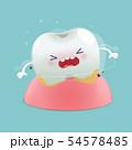 Cartoon loose teeth on a blue background, 54578485