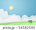 ペーパークラフト-空-雲-太陽-バカンス 54582595