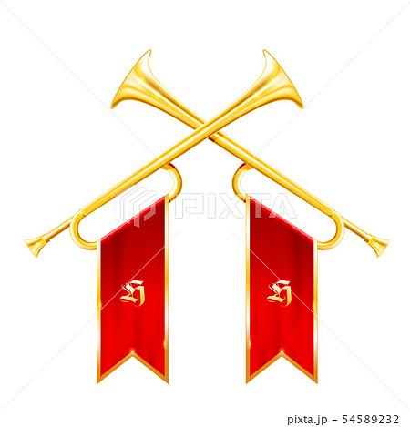 Fanfare - two vintage crossed trumpets, triumph 54589232