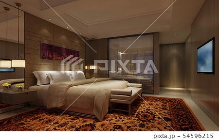 Hotel Room Interior 3D Illustration Photorealistic Rendering 54596215