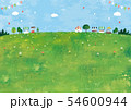 マルシェと草原の風景油彩 54600944