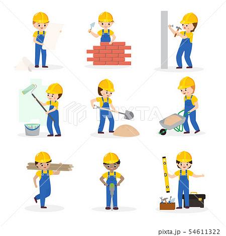 Builder cartoon character constructor building construction for newbuild illustration worker or 54611322