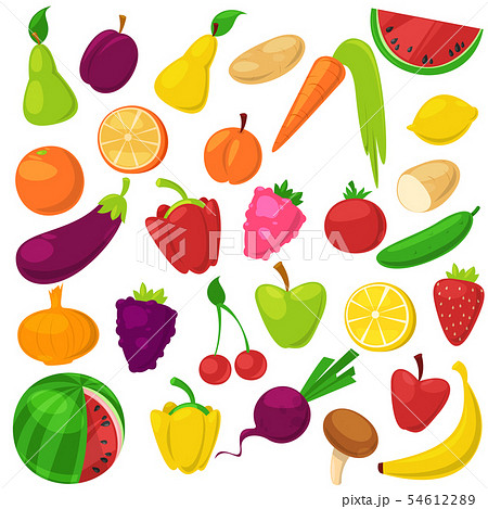 Fruits vegetables healthy nutrition of fruity apple banana and vegetably carrot for vegetarians 54612289