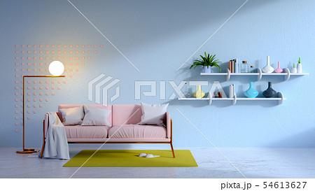 vintage living blue room and pink sofa 54613627