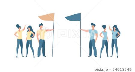 Two groups people different teams holding a flag 54615549