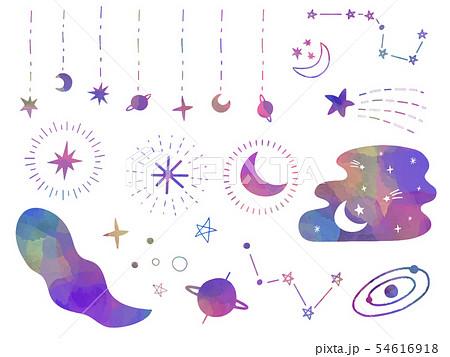 月と星の素材セット 54616918
