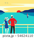 Hand drawn travel on cruise ocean liner vector poster 54624110