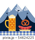 Hand drawn Oktoberfest flat color vector icon 54624225