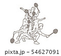 Group of Badminton players action cartoon graphic  54627091