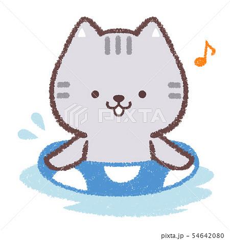 ネコ浮き輪水遊び 54642080