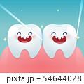Cartoon teeth with dental floss for healthcare 54644028