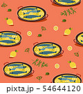 Fish dinner hand drawn flat vector pattern 54644120