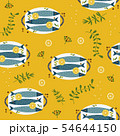 Fish dinner hand drawn flat vector pattern 54644150