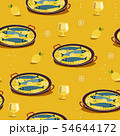 Fish dinner hand drawn flat vector pattern 54644172
