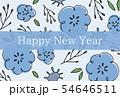 手描きの花柄年賀状 青 54646511