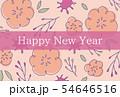 手描きの花柄年賀状 ピンク 54646516