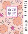 手描きの花柄年賀状 ピンク 54646521