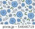 手書きの花柄背景素材 青 54646719