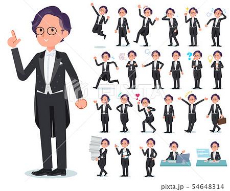 flat type tail coat Glasses men_emotion 54648314