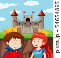 Happy prince and princess at castle 54654895