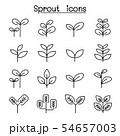 Sprout, plant, treetop, leaf icon set in thin line 54657003