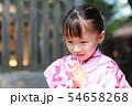 浴衣 (夏祭り 盆踊り イベント 行事 伝統 和服 園児 女児 文化 育児 子育て 子供 着物 寺) 54658268