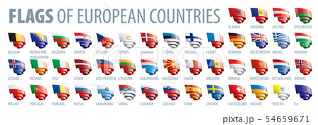 Set of flags of Europe. Vector illustration 54659671