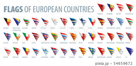 Set of flags of Europe. Vector illustration 54659672