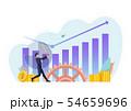 Businessman use baseball bat hit business chart 54659696