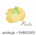 Watercolour of Pasta and basil on white. 54663303