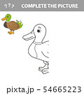 Coloring The Cute Cartoon Duck. Educational Game for Kids. Vector illustration 54665223
