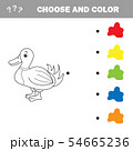 Coloring The Cute Cartoon Duck. Educational Game for Kids. Vector illustration 54665236