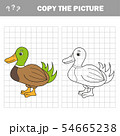 Coloring The Cute Cartoon Duck. Educational Game for Kids. Vector illustration 54665238