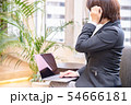 ソファに腰掛けノートパソコンを入力する30代女性悩むポーズ観葉植物背景 54666181