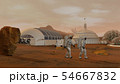 3D rendering. Colony on Mars. Two Astronauts 54667832