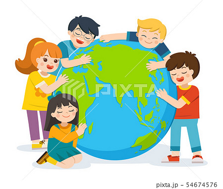 Little cute boy and girl are hugging planet Earth. 54674576