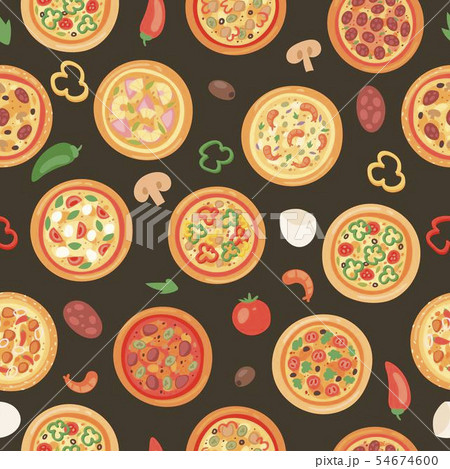 Pizza house with ingredients and different types seamless pattern vector illustration. Premium pie 54674600
